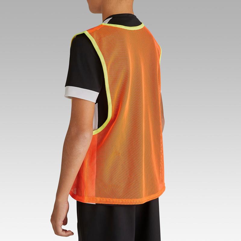 เสื้อเอี๊ยมแบ่งทีมฝึกซ้อมกีฬาสำหรับเด็ก (สีส้มนีออน)