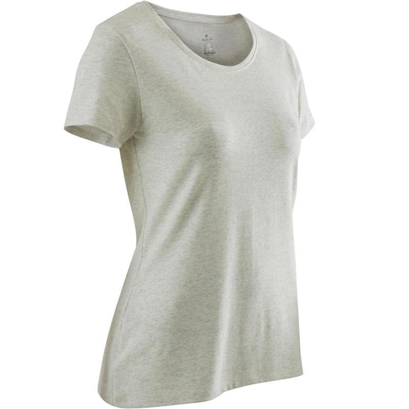 500 Regular-Fit Pilates & Gentle Gym Sport T-Shirt - White Print - Women's
