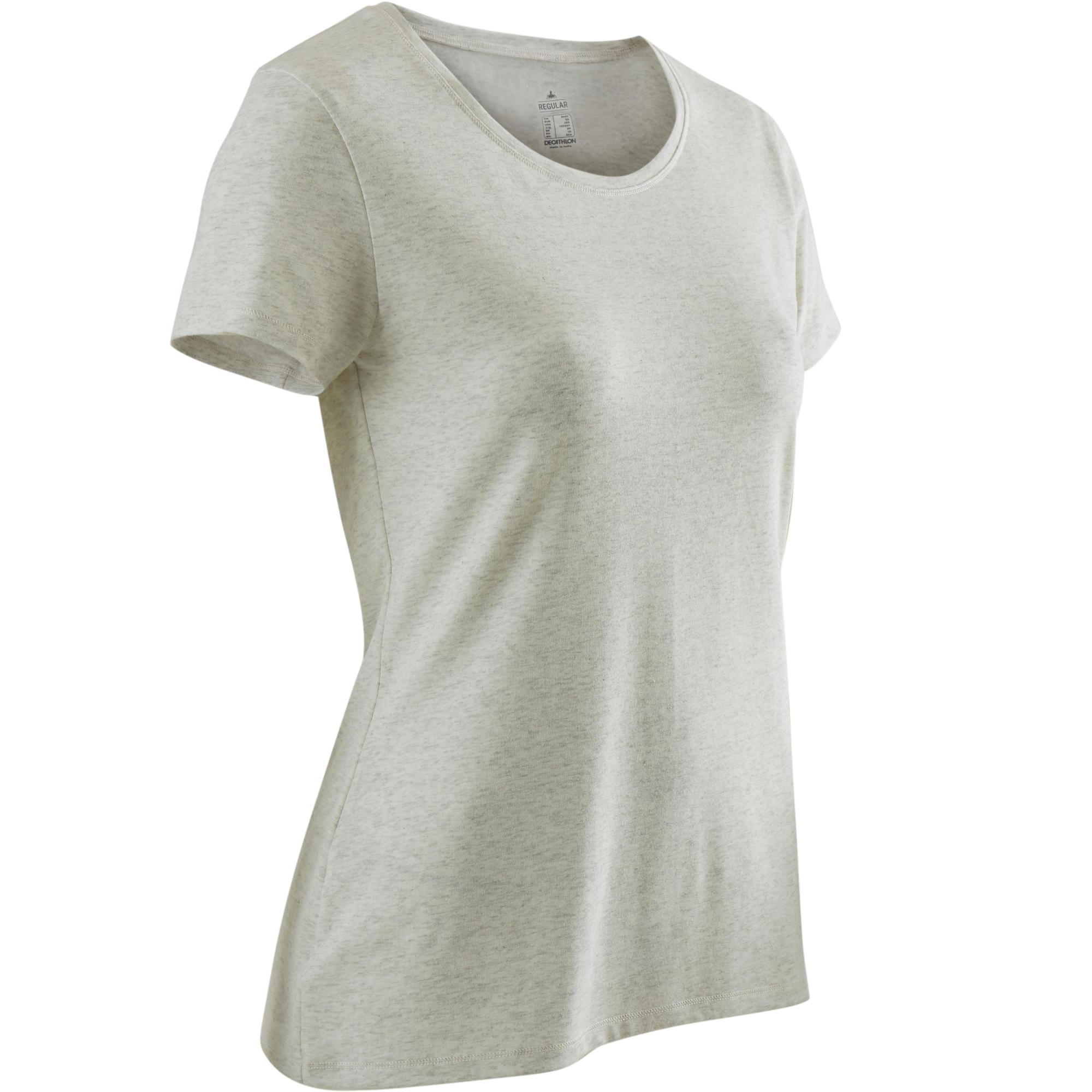 Camiseta Manga Corta Gym Pilates Domyos 500 Regular Mujer Blanco AOP