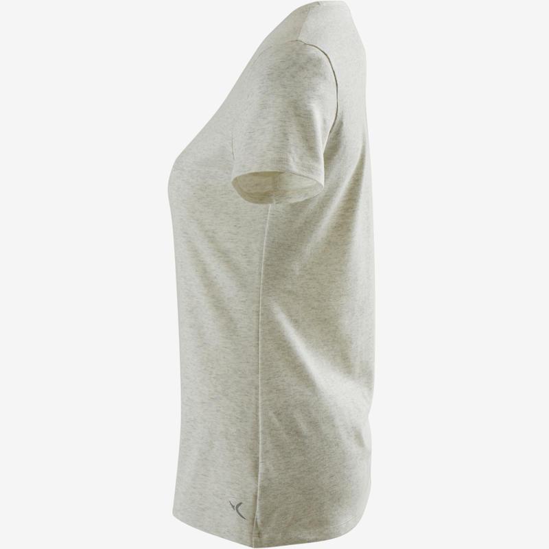 Women's Regular-Fit Pilates & Gentle Gym Sport T-Shirt 500 - White Print