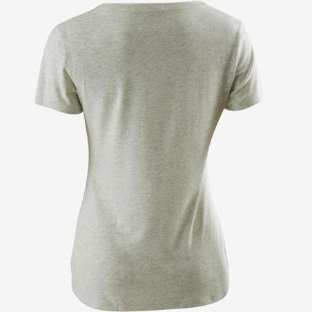 Kaus Gym Ringan & Pilates Wanita Regular-Fit 500 - Putih