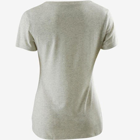 Camiseta 500 regular pilates y gimnasia suave mujer blanco AOP