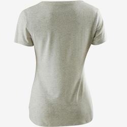 T-shirt Sport Pilates Gym Douce Femme 500 Rég Blanc Imprimé