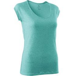 T-Shirt 500 slim Pilates Gym douce femme bleu clair chiné