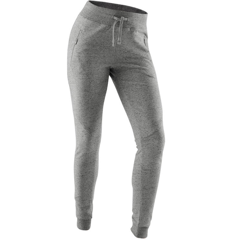 Pantalon jogging chaud Fitness poches zippées Slim Gris