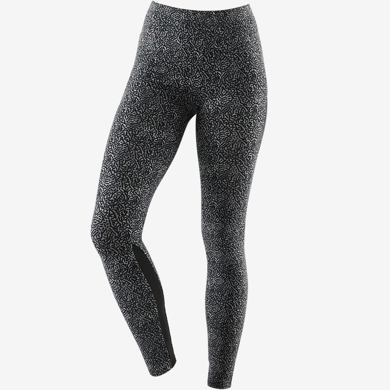 Leggings 520 Pilates y Gimnasia suave mujer negro estampado gris ... 57d9546af729