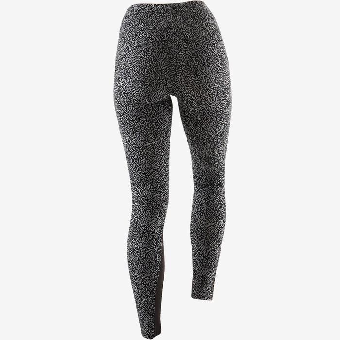 Legging 520 pilates en lichte gym dames zwart grijs print
