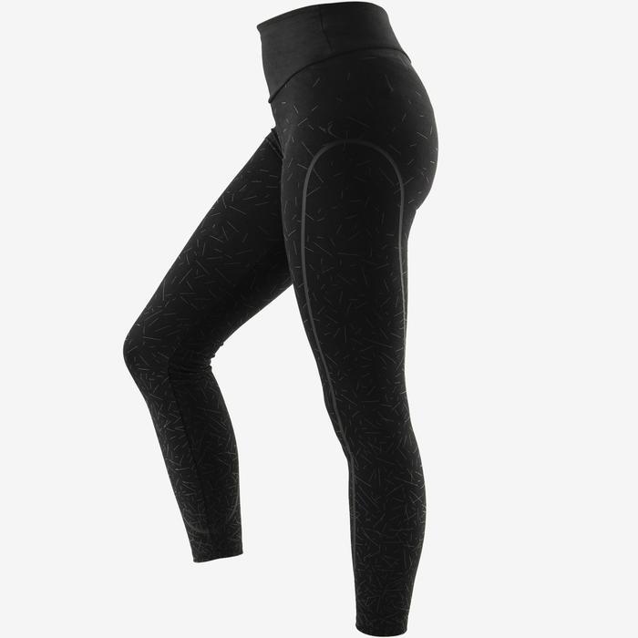 Dameslegging 560 voor pilates/lichte gym slim fit zwart met grijze print