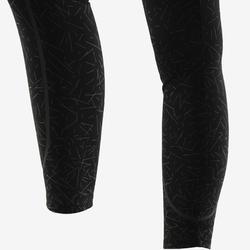 Fitnesslegging dames 560 slim fit platte buik modellerend zwart/grijs print