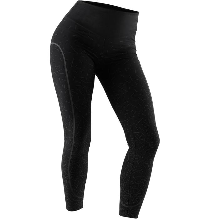 女款修身剪裁塑身皮拉提斯與溫和健身運動緊身褲- 黑色