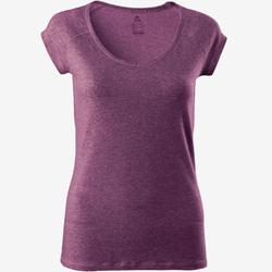 T-Shirt 500 slim Pilates Gym douce femme rose foncé chiné