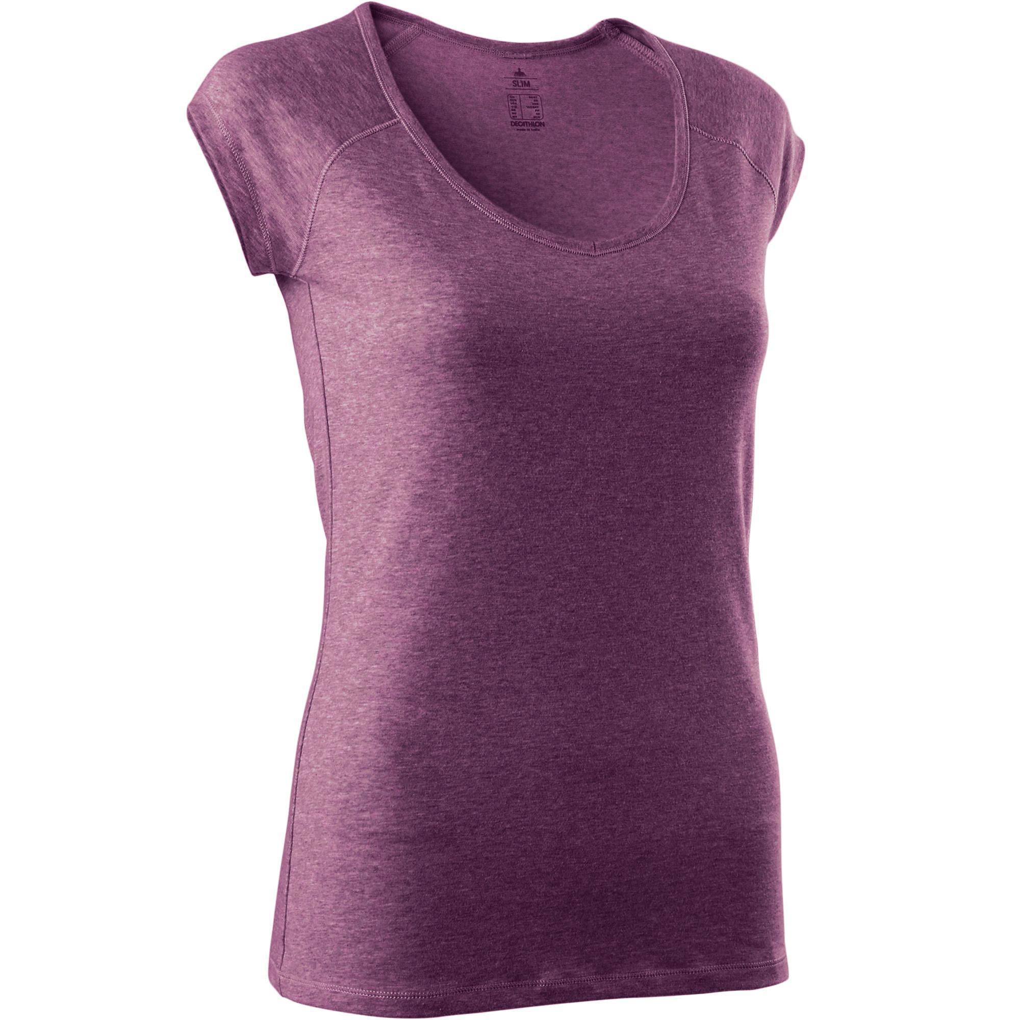 8870070ad86e2 Azul Slim 500 Gimnasia Stretching Mujer Domyos Camiseta Oscuro gBXTxwzgq