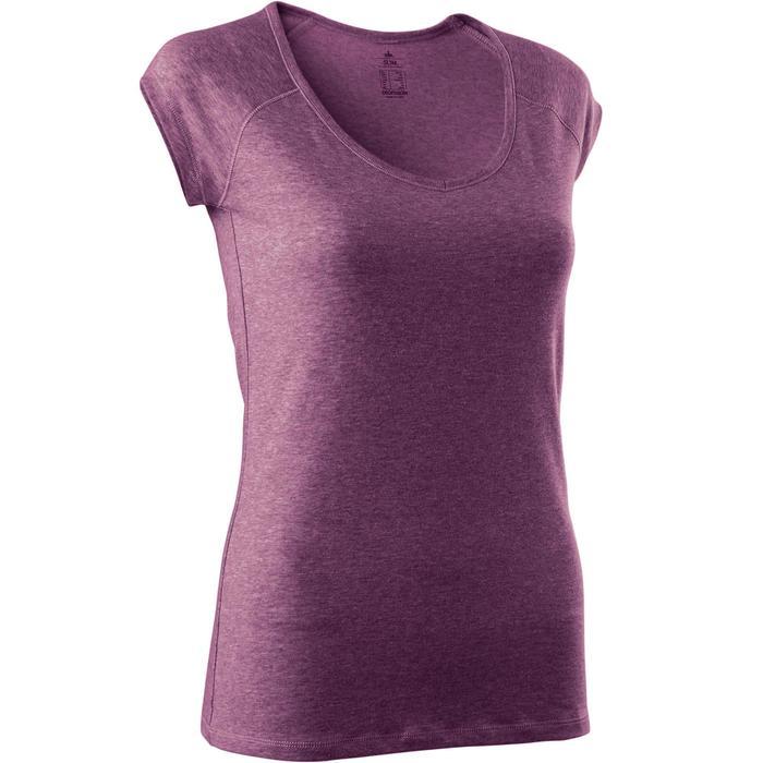 T-Shirt 500 Slim Pilates sanfte Gym Damen dunkelrosa meliert
