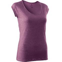 T-shirt 500 slim fit pilates en lichte gym dames gemêleerd donkerroze