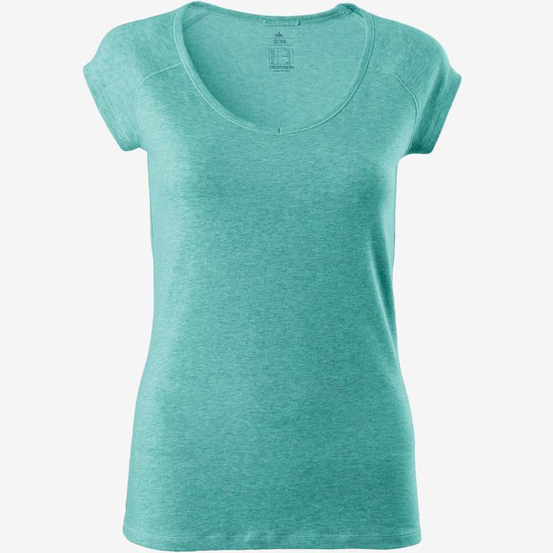 500 Women's Slim-Fit Pilates & Gentle Gym T-Shirt - Mottled Light Pink