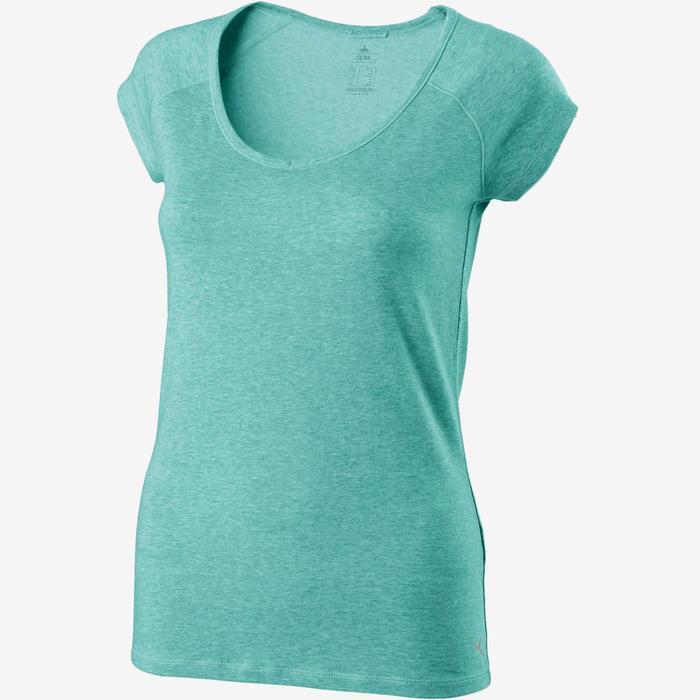 T-shirt 500 slim fit pilates en lichte gym dames gemêleerd lichtblauw