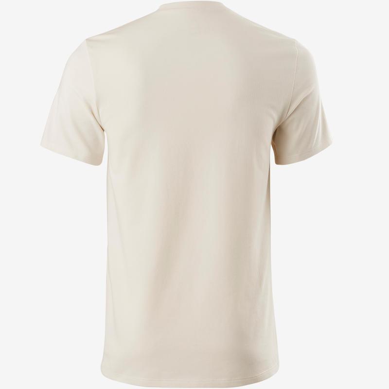 500 Slim-Fit V-Neck Pilates & Gentle Gym T-Shirt - Beige