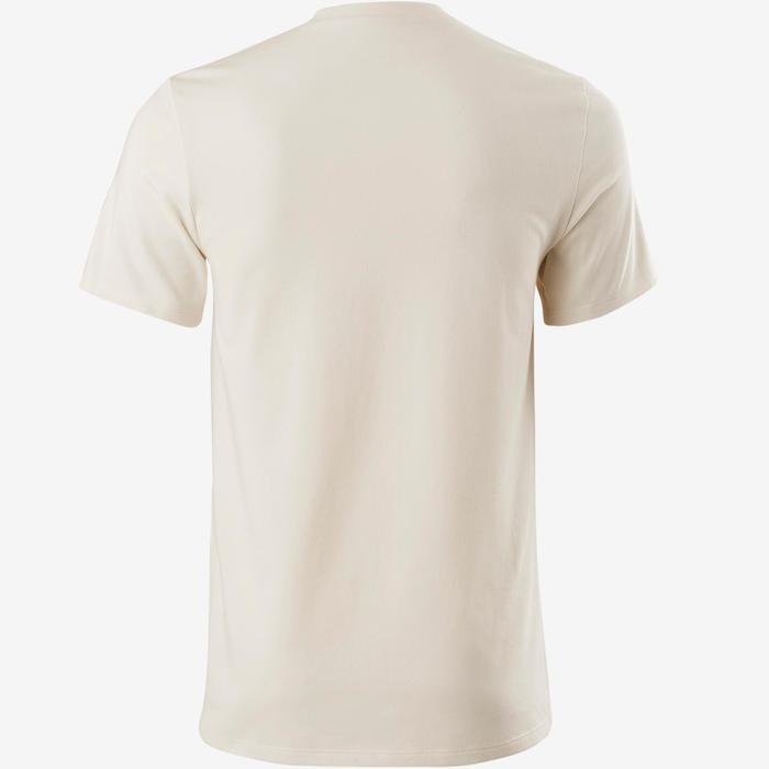 Camiseta Manga Corta Gimnasia Pilates Domyos 500 Hombre Beige Algodón