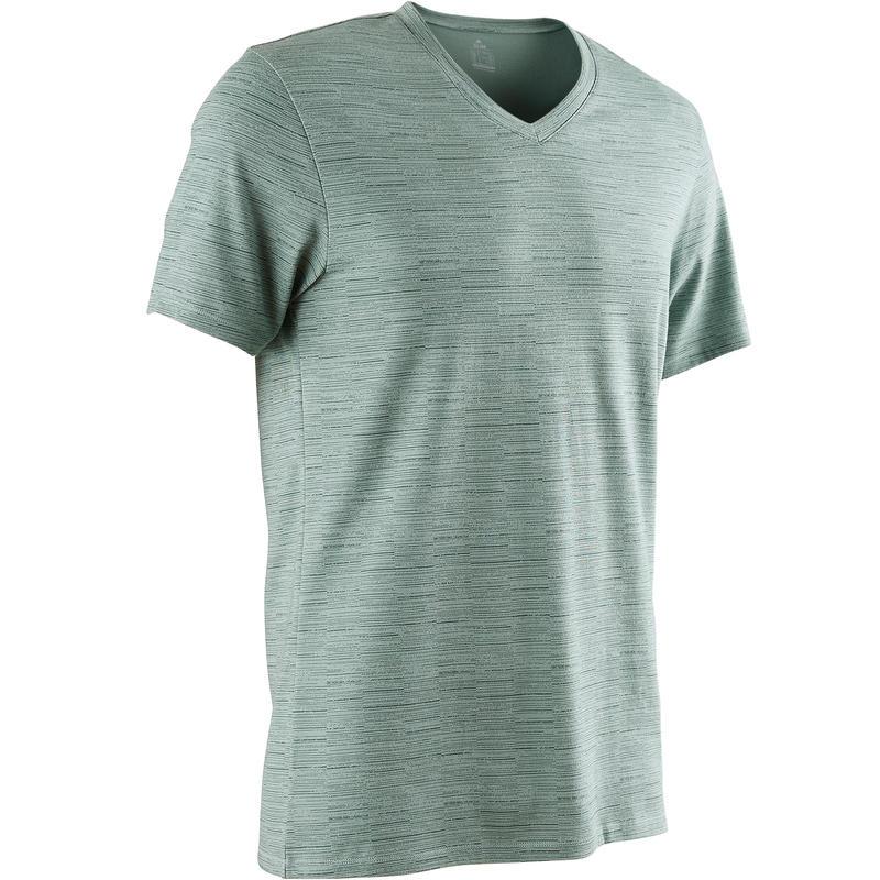 500 Slim-Fit V-Neck Pilates & Gentle Gym T-Shirt - Green