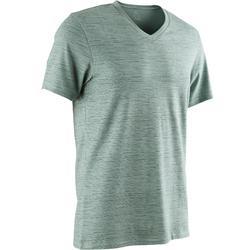 Camiseta 500 cuello de pico slim Pilates y Gimnasia suave hombre verde AOP