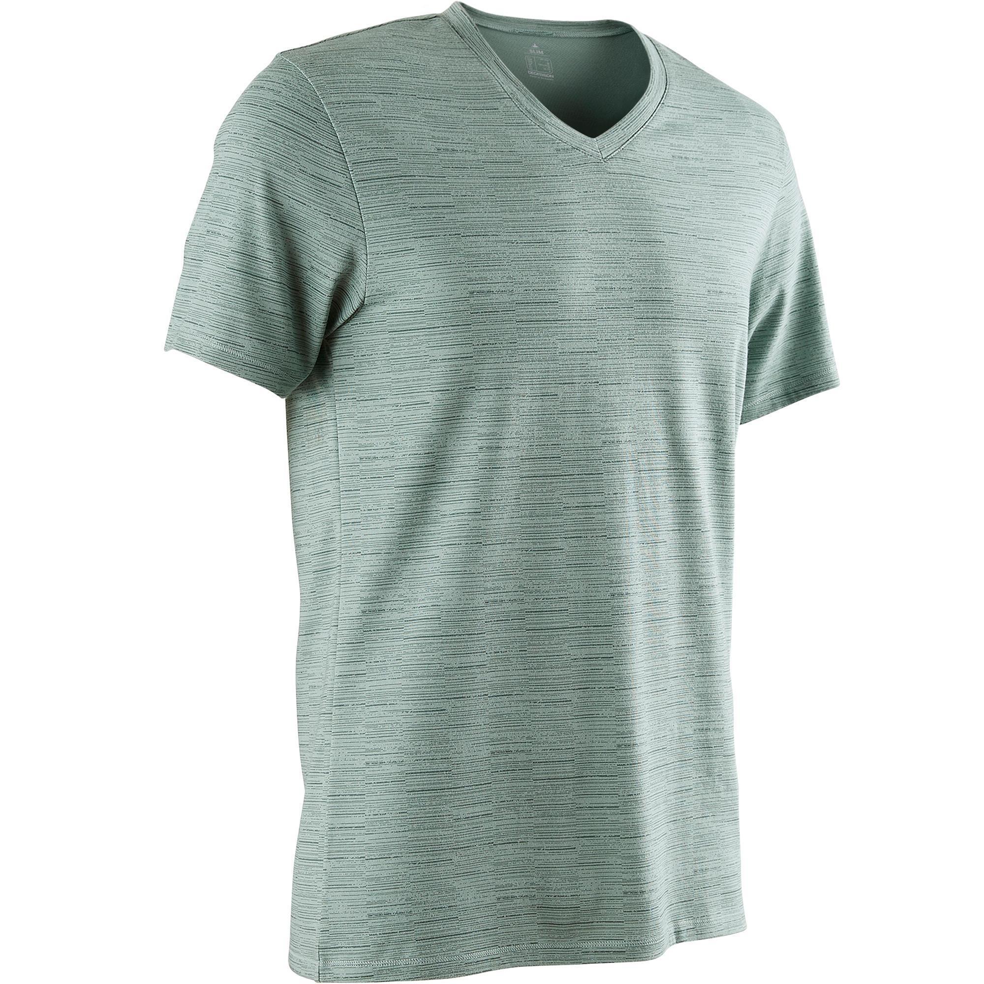 Domyos T-shirt 500 V-hals slim fit pilates en lichte gym heren