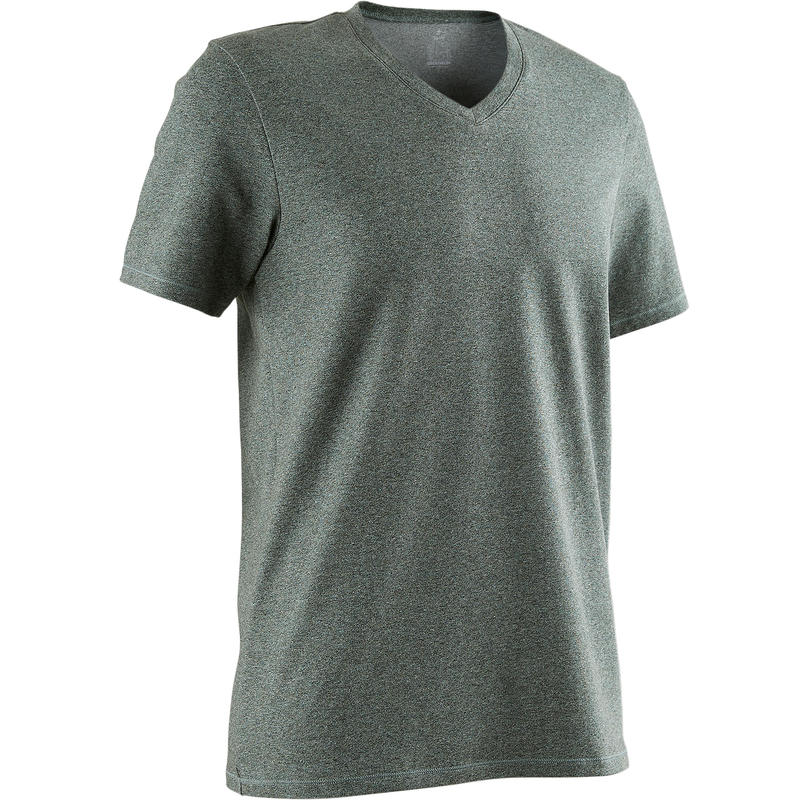 500 Slim-Fit V-Neck Pilates & Gentle Gym T-Shirt - Mottled Green