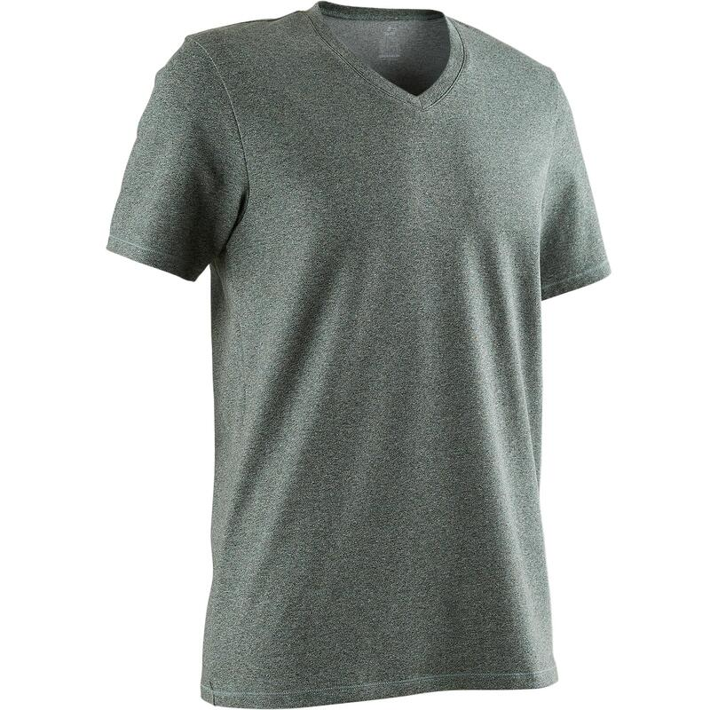 500 Slim-Fit V-Neck Pilates & Gentle Gym T-Shirt - Mottled Green