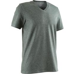 T-Shirt 500 col V slim Pilates Gym douce homme vert chiné