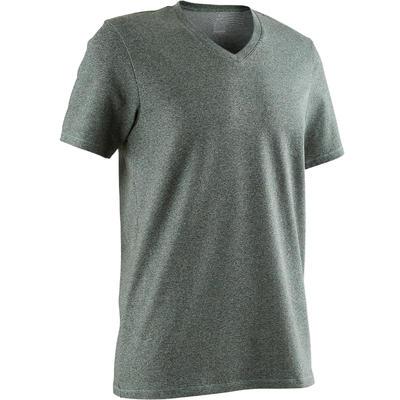 T-Shirt 500 col V slim Pilates Gym douce homme vert chiné
