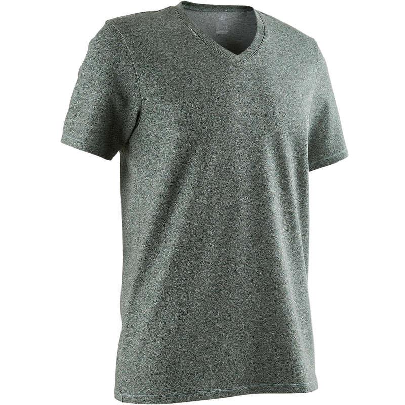 MAN GYM, PILATES APPAREL Clothing - 500 Slim V-Neck Gym T-Shirt NYAMBA - Tops