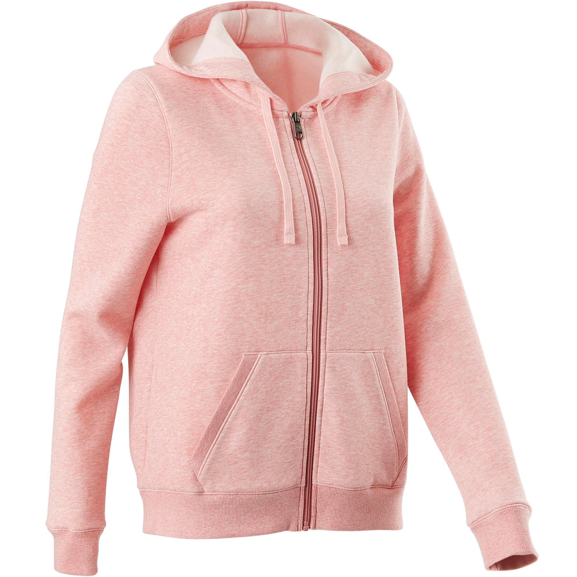 Domyos Dameshoodie met rits voor pilates en zachte gym 520 roze