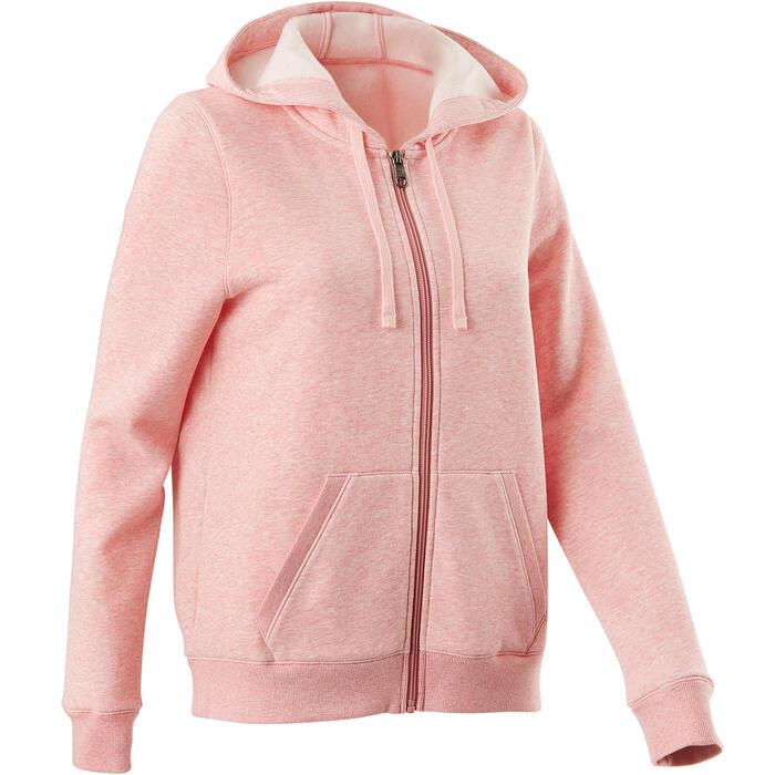 Dameshoodie met rits voor pilates en zachte gym 520 roze