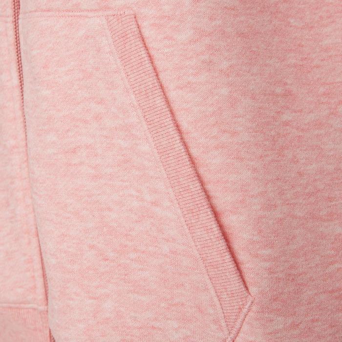 Dameshoodie met rits voor pilates en lichte gym 520 roze