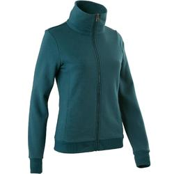 Trainingsjacke 500 Stehkragen Pilates sanfte Gymnastik Damen petrolblau