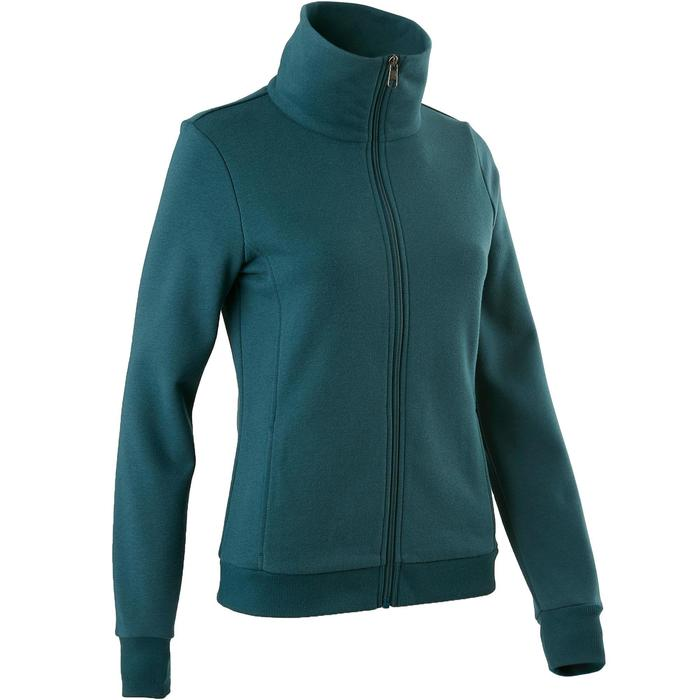 Trainingsjacke 500 Stehkragen Pilates sanfte Gymnastik Damen petrolblau