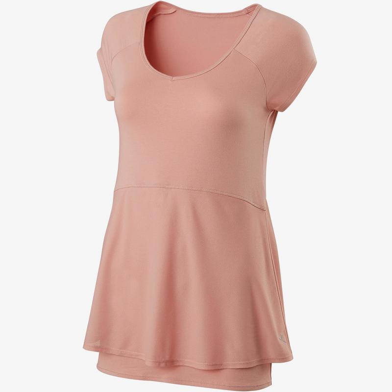 bd0df08b4d Női póló kímélő tornához, pilateshez 530-as, rózsaszín   Domyos by ...