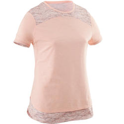 500 Girls' Breathable Cotton Half-Sleeved Gym T-Shirt - Pink