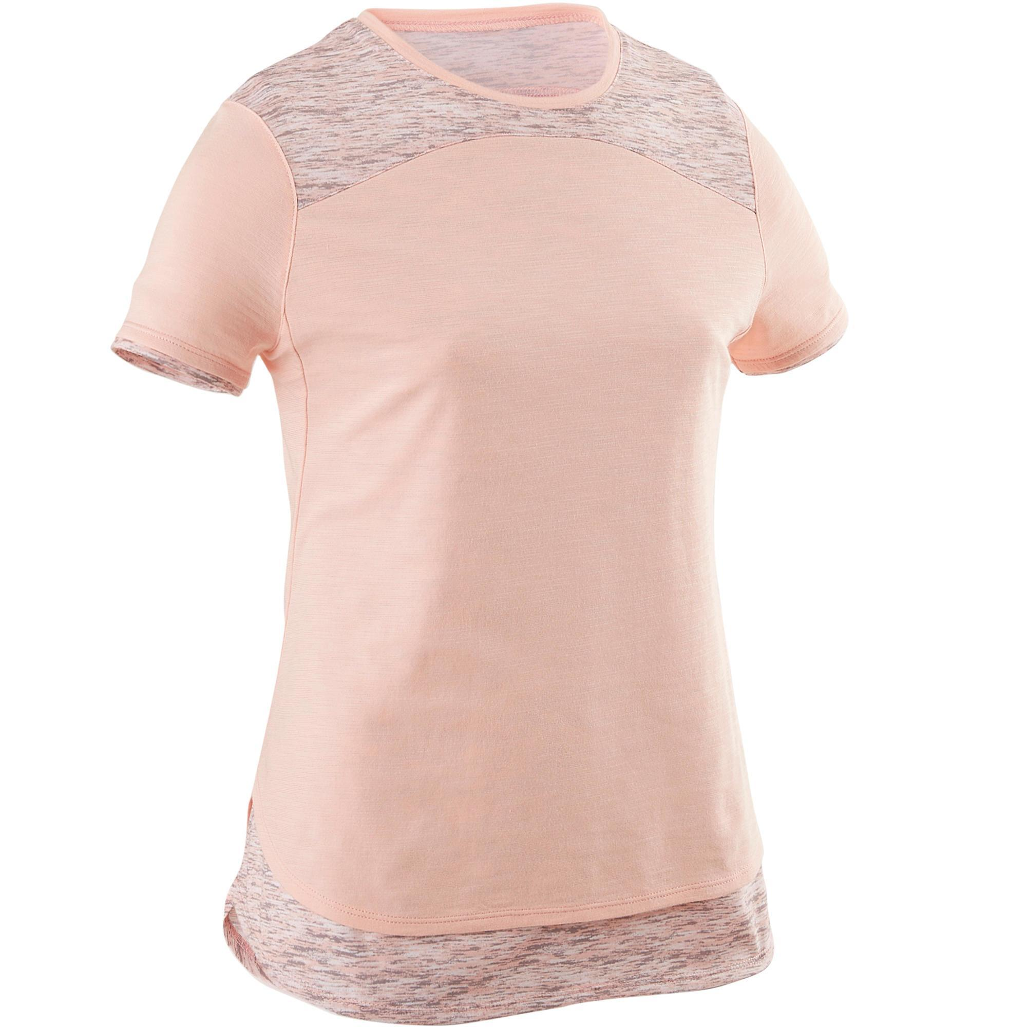 Domyos T-shirt korte mouwen ademend katoen 500 meisjes GYM KINDEREN roze AOP