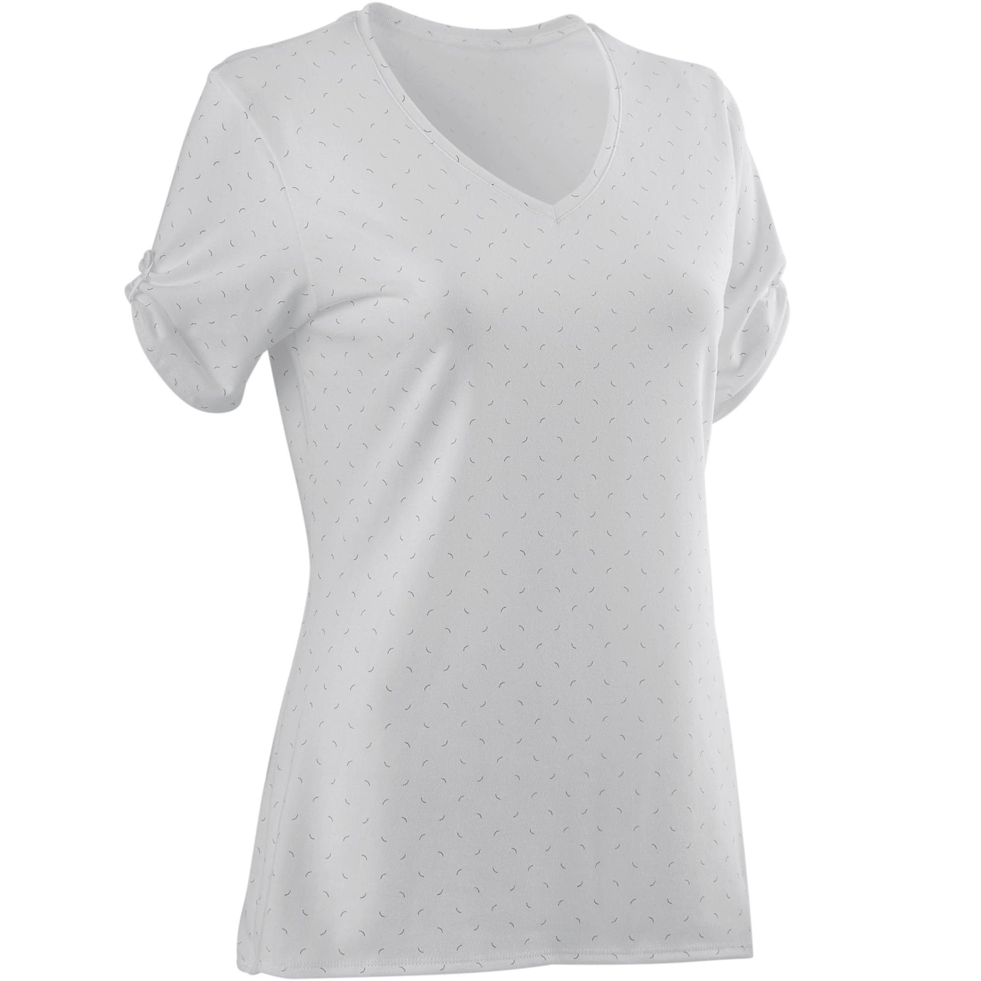 Camiseta 510 Pilates y Gimnasia suave mujer blanco estampado