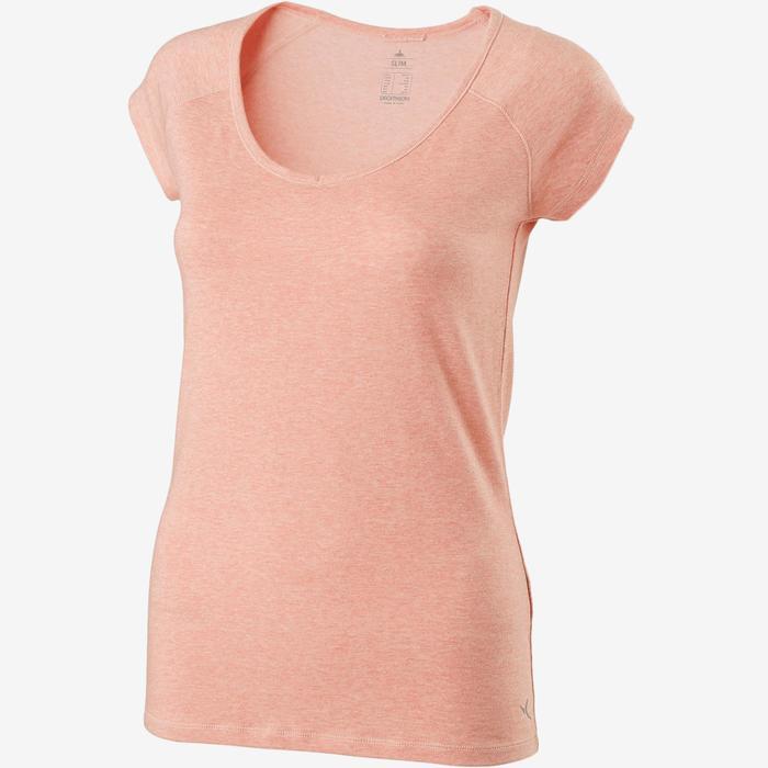 Camiseta De Manga Corta De Gimnasia Pilates Domyos 500 Slim Mujer Rosa Jaspeado