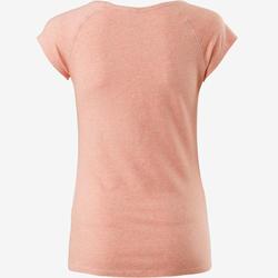 Playera 500 slim pilates y gimnasia suave mujer rosa claro jaspeado
