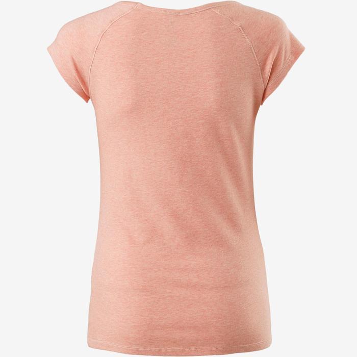 Camiseta Manga Corta Gimnasia Pilates Domyos 500 Slim Mujer Rosa Jaspeado