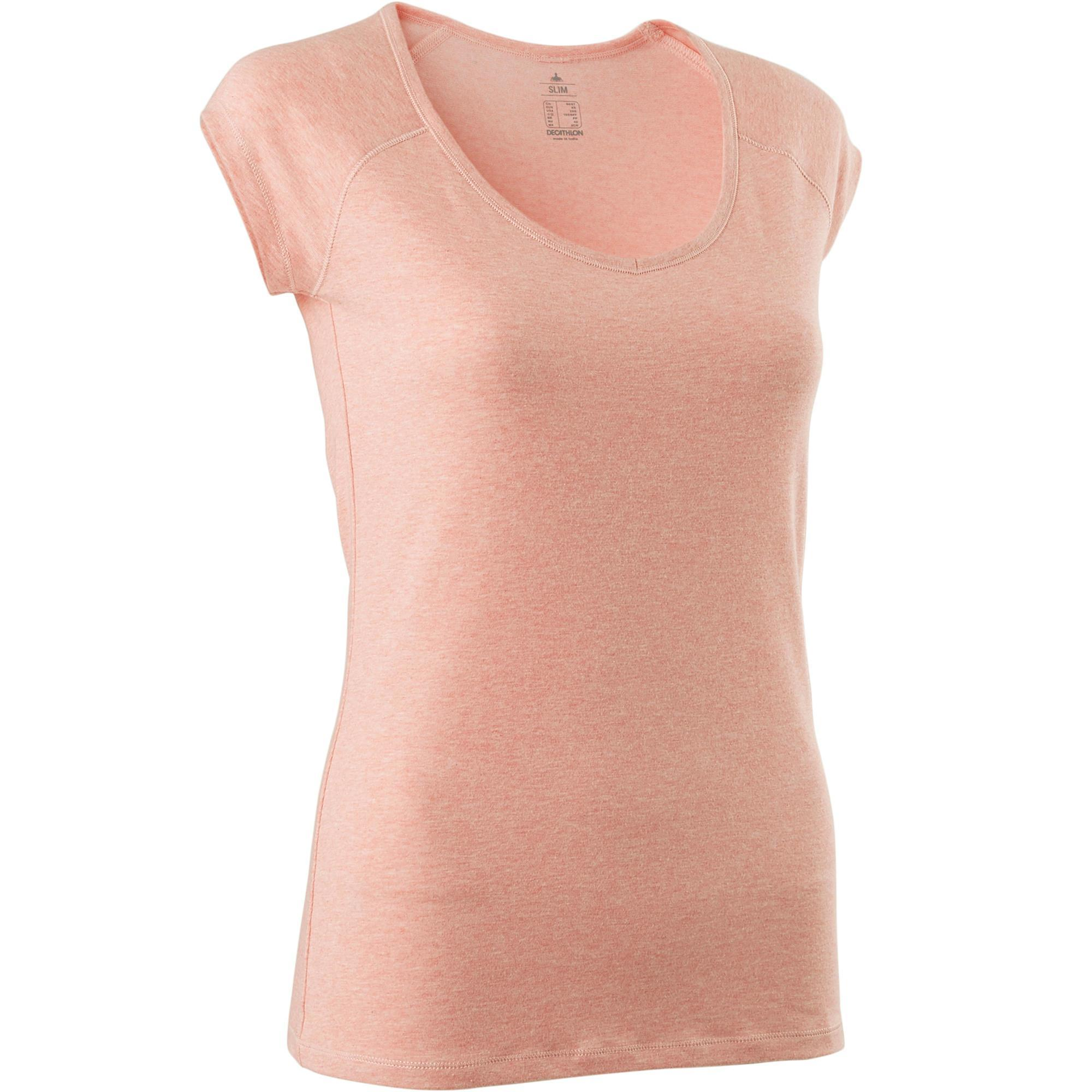 Domyos T-shirt 500 slim fit pilates en lichte gym dames gemêleerd lichtroze
