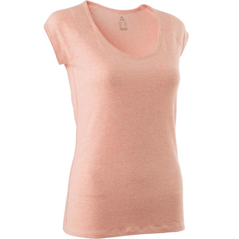 Women's Slim-Fit Gentle Gym & Pilates T-Shirt 500 - Pink