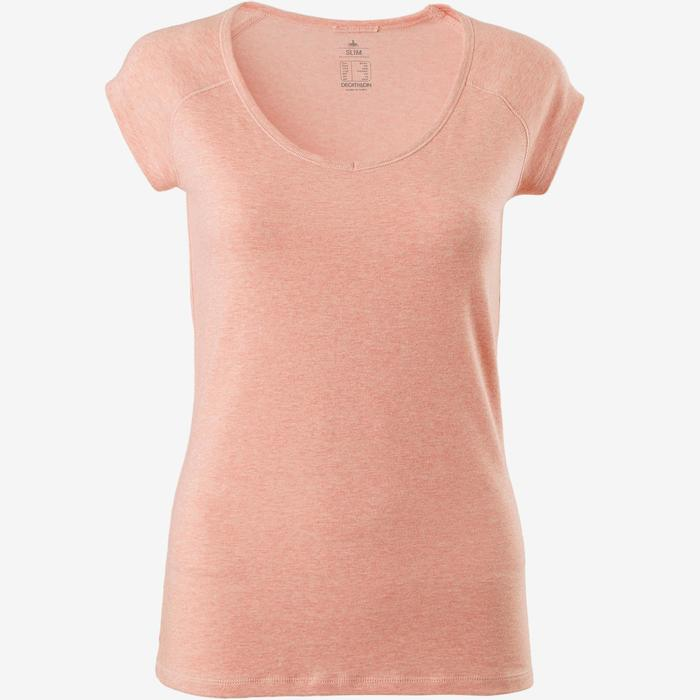 T-Shirt 500 Slim Gym & Pilates Damen rosa