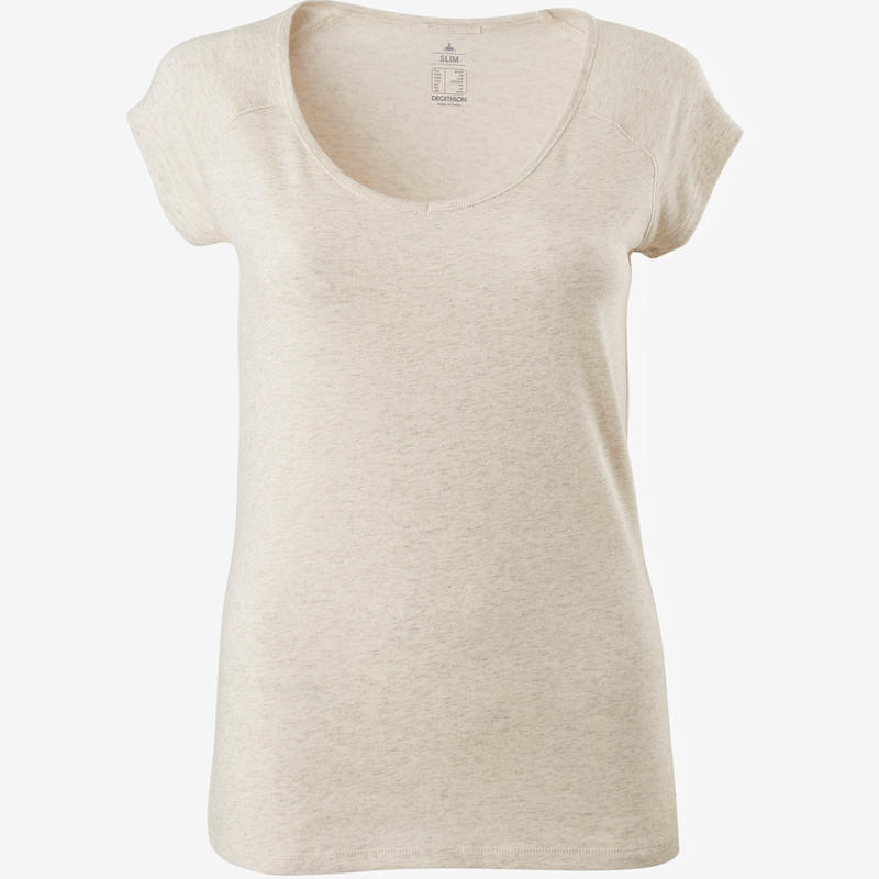 500 Women's Slim-Fit Pilates & Gentle Gym T-Shirt - Mottled Beige