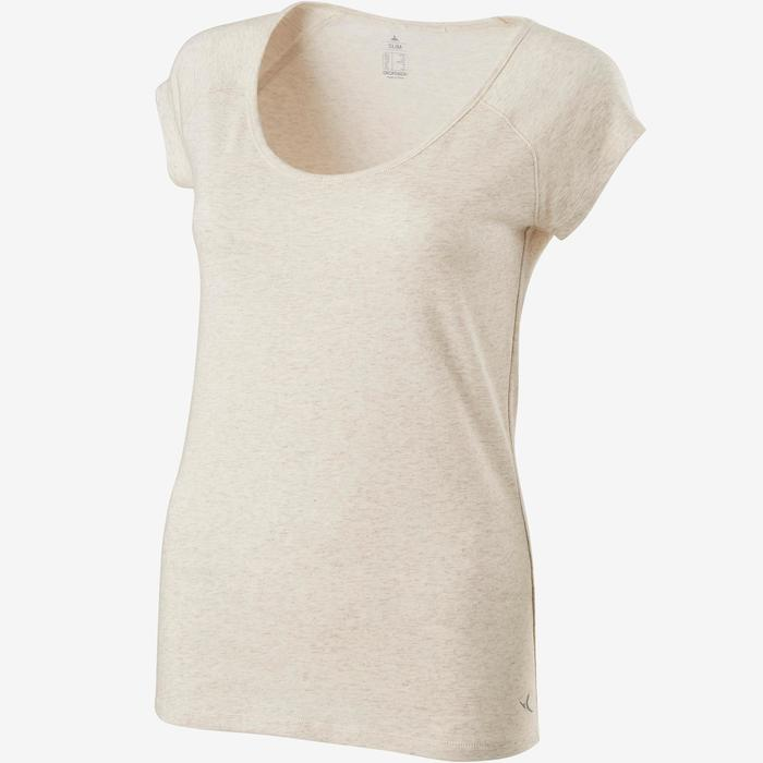 T-Shirt 500 slim Pilates Gym douce femme beige chiné