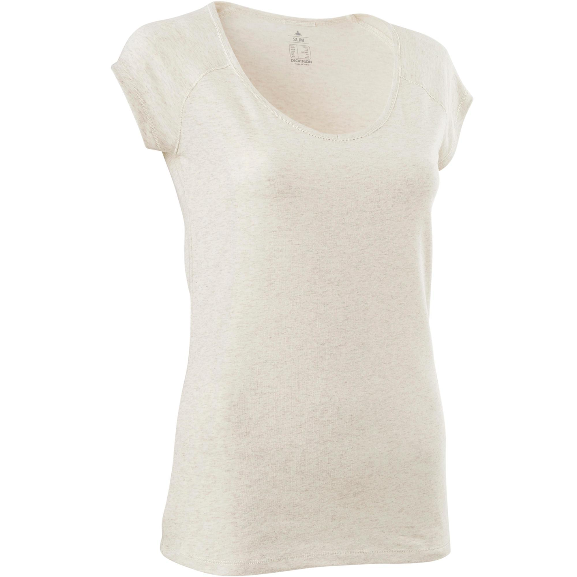 Domyos T-shirt 500 slim fit pilates en lichte gym dames gemêleerd beige