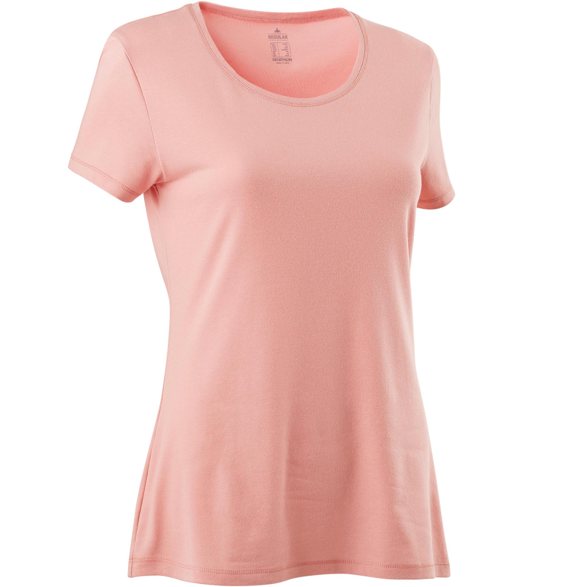 T shirt 500 regular pilates gym douce femme rose clair domyos