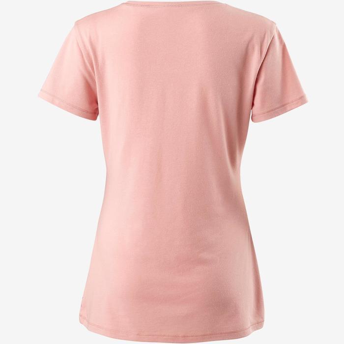 T-shirt 500 regular fit pilates en lichte gym dames lichtroze